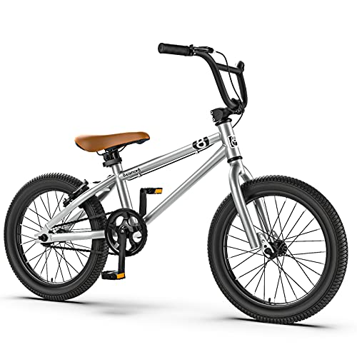 ALUNVA Kid Mountain Bike,16 20inch Boy Girl Variable Speed Bicycle,Children Cross-country Bike,One Speed Portable Bicycle,Riding Bicycle-Silver 20inch