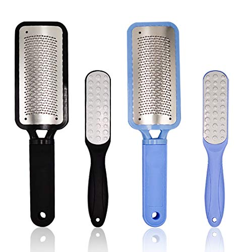Foot File Callus Remover Foot Scrubber Coarse Foot Files Rasp Foot Grater Pedicure Tools Heel Rasp Scrubber Shaver Dead Skin Remover Exfoliator for Wet and Dry Feet, 4 Pack, Black and Blue