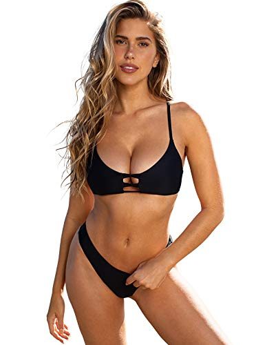RELLECIGA Women's Black Strappy Triangle Bikini Top with Cheeky Brazilian Cut Bikini Bottom Size Medium