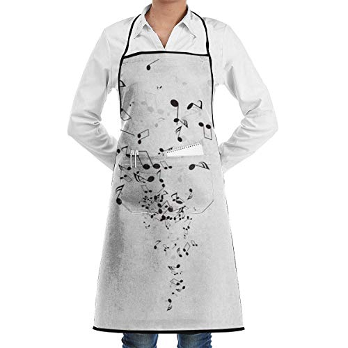 N\A Waterproof Hem Apron with Pocket 52cm 72cm, Unisex Apron Music Notes and Shadow