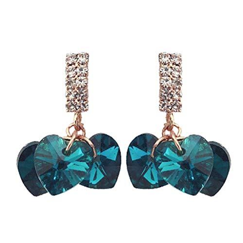 HELYZQ Brincos de strass de luxo para mulheres BlueHeart Crystal Simple Korean Declaração
