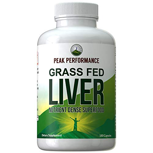 Grass Fed Desiccated Beef Liver Supplement by Peak Performance. 180 Capsules of Grassfed Liver Superfood Pills Rich in Natural Iron, Vitamins, Amino Acids. Great for Adrenal and Immune Support