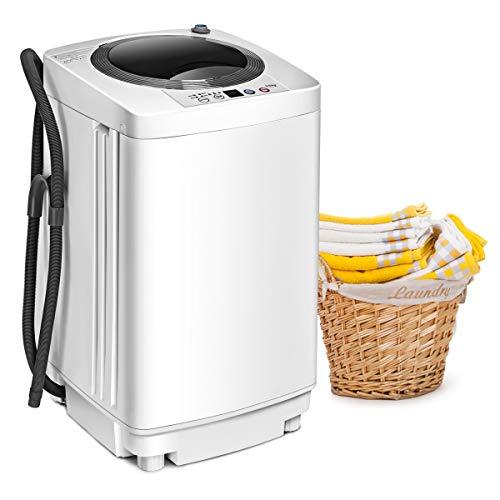 GOPLUS Waschmaschine Vollautomatisch, Waschvollautomat mit Schleudern mit einfacher Bedienung 3,5 kg Fassungsvermögen, Miniwaschmaschine Platzsparend Kompakt 43x43x75 cm, Waschmaschinenreiniger Weiß