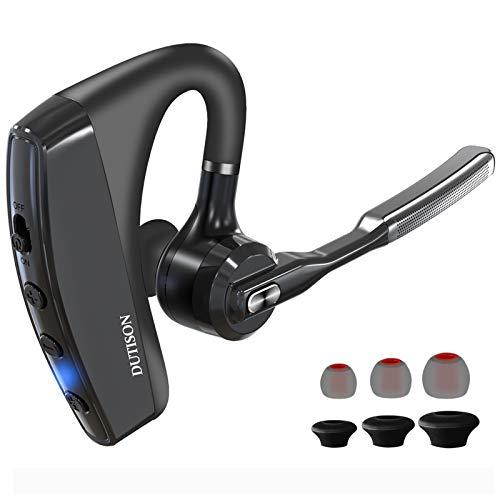 DUTISON Auricolari Bluetooth Senza Fili 5.0, Cuffiette Bluetooth Wireless 2-Microfono CVC8.0,Cuffie Cancellazione Rumore Mono Versione Business Supporto Orecchio Sinistro Destro Adatto Smart Phone