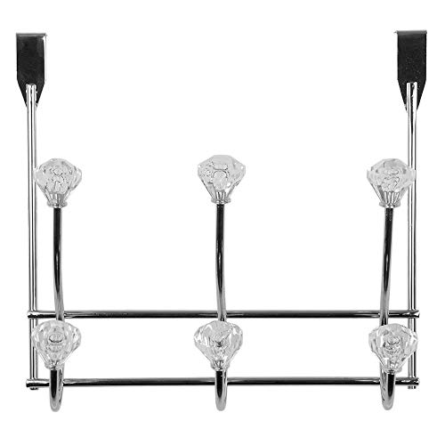 Home Basics 3 Hook Over the Door Hooks with Crystal Knobs, Organize Clothes, Coats, Robes, Towels For Bedroom, Bathroom Or Closet, Chrome