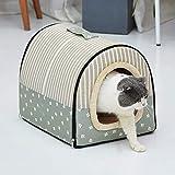 L.TSA Casa para Mascotas Cama para Perros y Gatos Tienda para Mascotas Cama Cueva para Gatos Perros pequeños Cama para Gatos Casa con cojín extraíble y Lavable (Color: Verde, Tamaño: L)