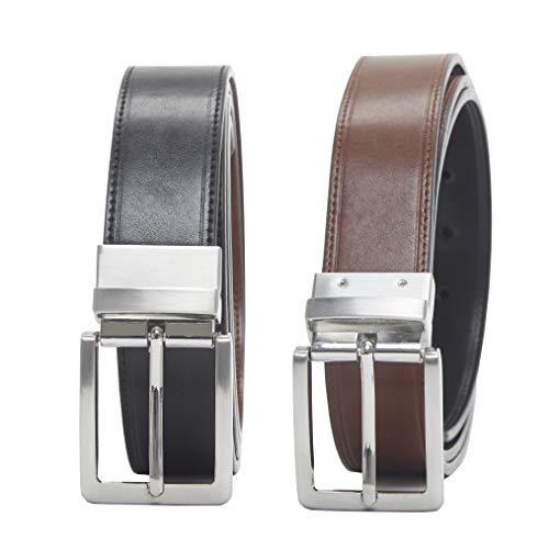 Amazon Essentials - Cinturón reversible para hombre, Negro (Black/Brown 014), W42''