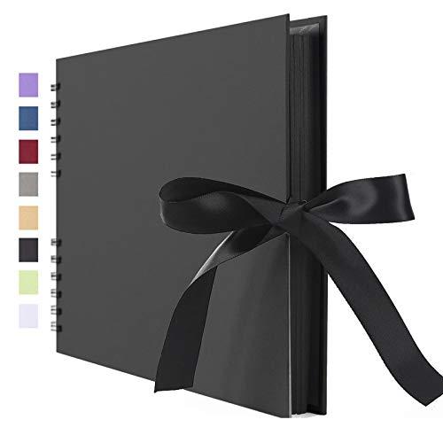 Vienrose Álbum de fotos Scrapbook 10x15 Para Pegar y Escribir 80 Negra páginas DIY Regalos de Boda Aniversario Bebé Cumpleanos Familiares,29x22 cm