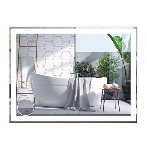 Espejo Baño Antivaho Espejo de Pared Espejo Colgante Salón Espejo de Aumento de baño con Luz LED Interruptor Táctil 3 Temperatura de Color Ajustable (80x60cm)