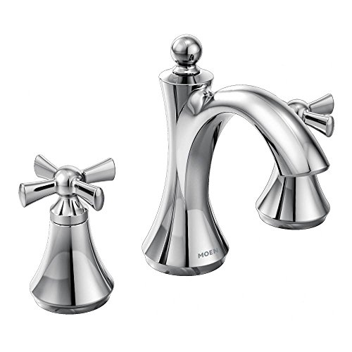 Moen T4524 Wynford Two-Handle Widespread High-Arc Bathroom Faucet with Cross Handles, Valve Required, Chrome
