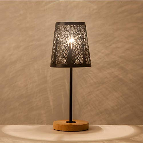 OYGROUP Pequeña lámpara de cabecera con base de madera barra de metal negra y pantalla hueca...