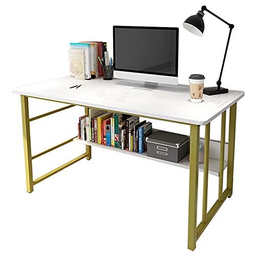 Escritorio de computadora simple moderno con estantería Escritorio del estudiante Estación de trabajo de escritura de estudio Mesa de juegos para computadora portátil PC para la oficina en casa blanco