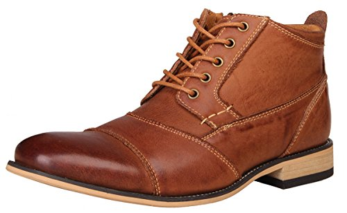 Kunsto Men's Genuine Leather Oxfords Dress Ankle Boots with Zipper Brown Size 10