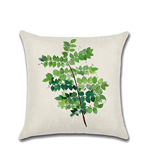 NSSZ Taie d'oreiller thème Feuille Verte Plantes Tropical Couverture taie d'oreiller Lin Maison