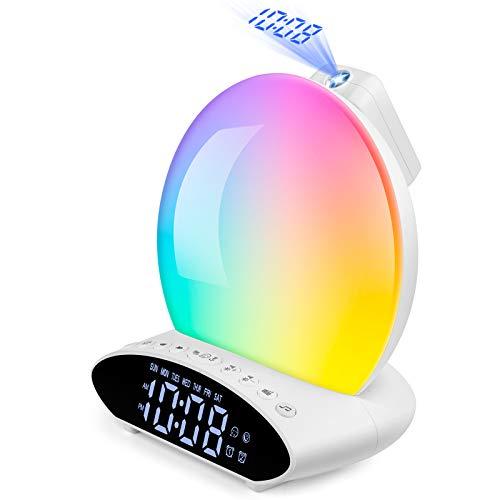 Wake Up Light Sunrise Alarm Clock for Heavy Sleeper, 7 Color Sleep Aid Sound Machine with Sunset Simulation for Kids & Adult, Dual Alarms, Snooze, FM Radio, Night Light, Bedside Lamp, USB Music Player