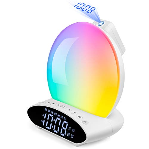 Wake Up Light Sunrise Alarm Clock for Heavy Sleeper, 7 Color Sleep Aid Sound Machine with Sunset Simulation for Kids & Adult, Dual Alarms, Snooze, FM Radio, Night Light, Bedside Lamp, USB Music Player