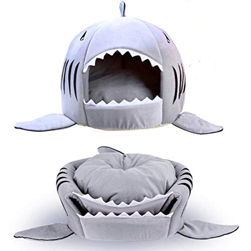 Longzhuo Four Seasons - Cama para mascotas, diseño de boca de tiburón, color gris
