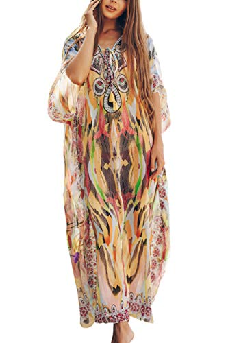 AiJump Vestido Bohemia de Playa Chiffon Kaftan Kimono Pareos Cover Ups para Mujer