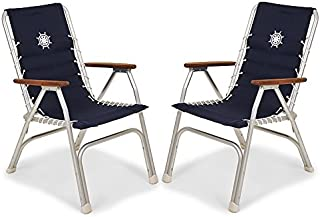FORMA Marine Set of 2 Navy Blue High Back Deck Chairs, Boat Chairs, Folding, Anodized, Aluminium, Model M150NB