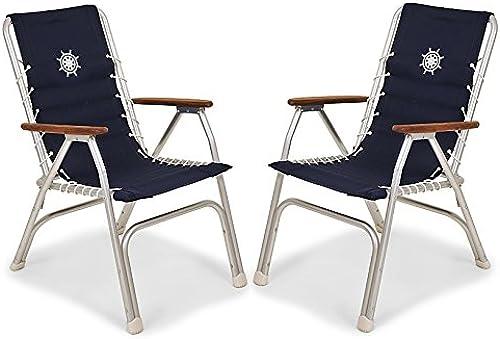 FORMA MARINE Lot de 2chaises Chaises Longues, Bateau à Haut Dossier, Pliant, en Aluminium anodisé, Bleu Marine, modèle M150nb