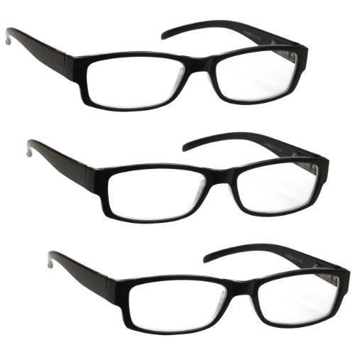 The Reading Glasses Company Die Lesebrille Unternehmen Schwarz Leicht Komfortables Leser Wert 3er-Pack Designer Stil Herren Frauen UVR3PK032 +1, 00 Optische Leistung/Schwarz