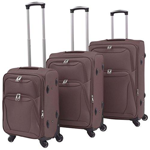 vidaXL Trolley Set 3- teilig 4 Rollen Reisekoffer Weichgepäck Handgepäck Koffer Koffer, 30 cm, Kaffeebraun