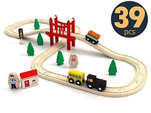 Wooden Train Set for Toddler - 39 Piece- with Wooden Tracks Fits...