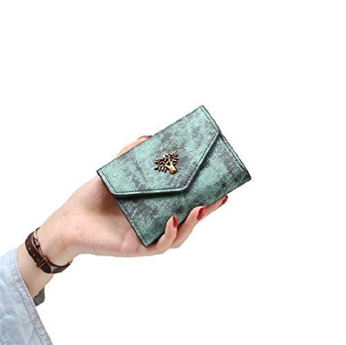 NOLOGO Wallet Damen Kurze Retro Retro Studentenausweis Pack Geldbörse Vertical Wallet (Color : Mexican Green)
