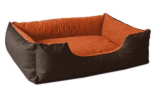 BedDog® Hundebett LUPI, Hundesofa aus Cordura, Microfaser-Velours, waschbares Hundebett mit Rand, Hundekissen Vier-eckig, für drinnen, draußen, XL, Sunset, braun-orange