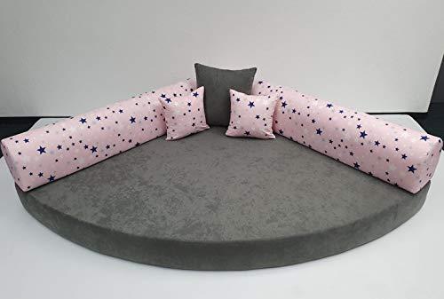 Kuschelecke Viertelkreis Sterne Rückenteil rosa/Sitz grau 140 x 140 cm, Made in Germany;