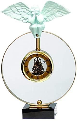 Scultura,Reloj De Sobremesa De Estilo Simple / Reloj De Mesa con Puntero De Metal / 13 Reloj De Mesa Redondo De 4 Pulgadas Reloj De Mesa Blanco Creativo Y De Moda Sala De Estar Escritorio Decoración
