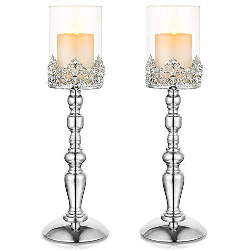 Nuptio 2 Stück Säulenkerzenhalter, 38cm Hohe Kerzenhalter für Tisch, Kerzenhalter Kerzenständer für Esszimmer Wohnzimmer Couchtisch Dekor, Hurricane Kerzenhalter für Hochzeit Herzstück