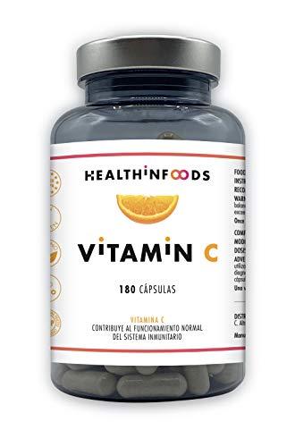 Healthinfoods | Vitamina C | 1200 mg | Altamente Concentrada | Refuerza el Sistema Inmunológico y Reduce el Cansancio | 180 Cápsulas Veganas