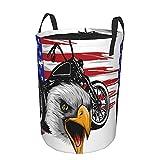 """Cesto portabiancheria rotondo, una motocicletta con la testa aquila e bandiera americana, cesto portabiancheria pieghevole impermeabile con coulisse 21.6""""X16.5"""""""