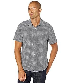 UNTUCKit Wrinkle-Free Performance Short Sleeve Kamari Shirt Navy LG Slim Fit