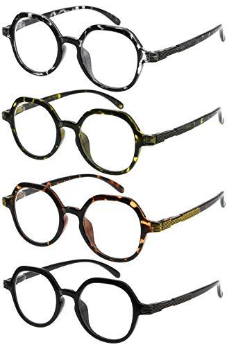 Eyekepper 4 Packing Retro Design Glasses for Women Reading - Vintage Reading Eyeglasses Small Lens Readers Men +2.00