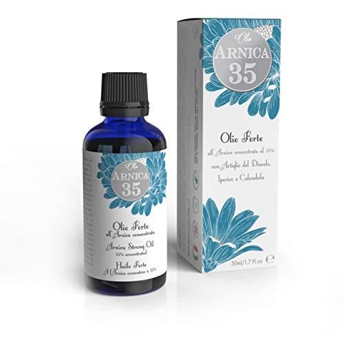 Dulàc Sterke massageolie met Arnica in een concentratie van 35%, 50 ml, Ideaal voor massages, 100% natuurlijk, 100% Made in Italy, Arnica 35