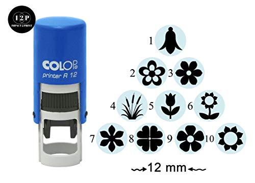 IMPACT2PRINT Fiore Design Autoinchiostrante Mini Timbro Tondo Colop R-12 Insegnante Insegnante In Gomma 12mm