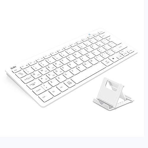 Ewin Bluetooth キーボード ワイヤレス 日本語配列 ipad ダブレット パソコン スマホ 日本初 mac android ios windows 4つシステム対応 3台デバイス自由に切り替え 軽量 薄型 在宅勤務専用 スタンド付き (ホワイト)