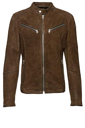Tigha Herren Lederjacke Fried Buffed Braun XXL