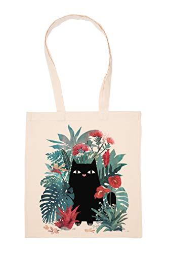 Chat Dans Le Fleurs Sac Achats Réutilisable Les Courses Toile En Coton Tote Reusable Shopping Bag