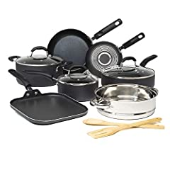 """SET INCLUDES: 8"""" fry pan, 10"""" fry pan, 2 quart saucepan with tempered glass lid, 5 quart Dutch oven with tempered glass lid, stainless steel steamer basket, 4 quart deep sauté pan with tempered glass lid, 10"""" square griddle pan, bamboo turner, bamboo..."""