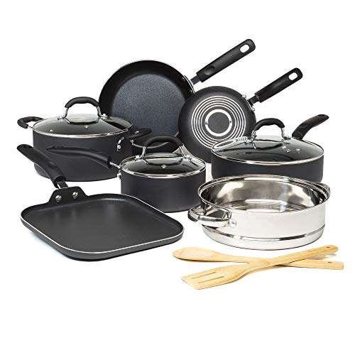 Goodful Premium NonStick Cookware Set Dishwasher Safe Pots and Pans Diamond Reinforced Coating Made Without PFOA 12Piece Charcoal Gray