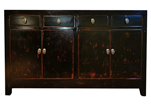 Fine Asianliving Buffet Chinois Commode Chinois Meubles Chinois Armoire de Mariage Chinoise Style Rangement Chinois Mobilier Oriental Armoire Orientale Asiatique Mandarin Pekin 155 x 94 x 45