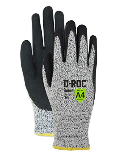Magid Safety D-ROC HPPE Blend with NitriX Palm Coated Gloves, Salt/Pepper (12 Pairs)