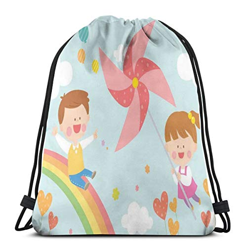LLiopn Drawstring Sack Backpacks Bags,Children Riding On Rainbow Dreamy Heart Shaped Flowers Fairy Tale Nursery Kids,Adjustable.,5 Liter Capacity,Adjustable.