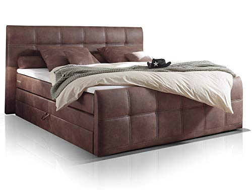 moebel-eins Artemis Boxspringbett Hotelbett Bett amerikanisches Bett 7-Zonen Taschenfederkernmatratze 180 x 200 cm Härtegrad 3 braun, braun