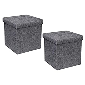 Bonlife Taburete con espacio de almacenamiento, banco plegable, baúl, caja de almacenamiento, taburete, organizador de cama, asiento de PVC, 32 x 32 x 32 cm
