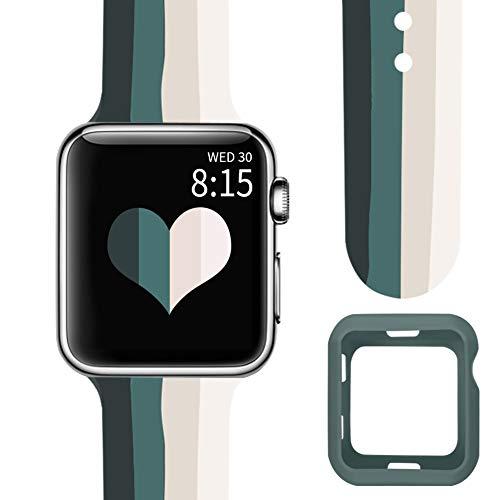 Vozehui Correa de repuesto compatible con Apple Watch Case con correa para 44 mm, 42 mm, 40 mm, 38 mm, multicolor empalme banda transpirable para iWatch Series 6/5/4/3/2/1 (con una funda protectora)