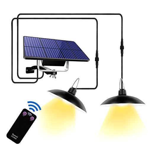 Suroper Solarleuchte für Außen mit Fernbedienung 32 LED Solar Hängelampe IP65 Wasserdichte Camping Außenlicht 180° Einstellbares Solarpanel Solar LED Wandleuchte für Garden, Home Decorate(Zwei Licht)